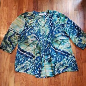 Chico's Flowy Bluegreen Watercolor Blouse Size L.